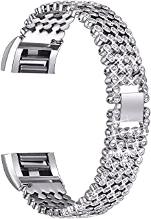 bayite Metal Bands Compatible with Fitbit Charge 2, Replacement Bracelet Adjustable Women Rhinestone