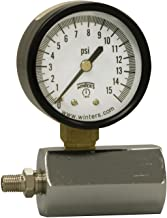 Winters PET Series Steel Single Scale Gas Test Pressure Gauge with Polycarbonate Lens, 0-15 psi, 2