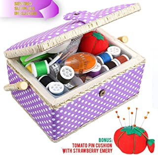 SewKit | Large Sewing Basket Organizer with Complete Sewing Kit Accessories Included | Wooden Sewing Basket Kit with Removable Tray and Tomato Pincushion for Sewing Mending | Purple | 220.15