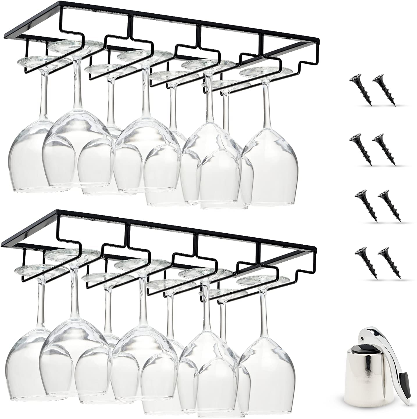 Wine Daily bargain sale New life Glass Rack Under Cabinet - Iron Row With Stemware A 4