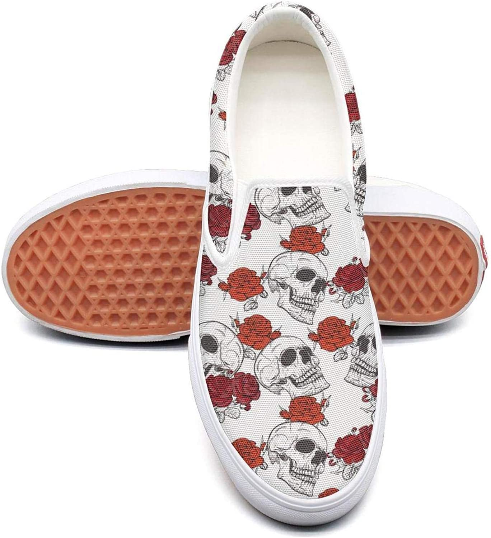pink Skull Bones Decor Slip On Superior Comfort Sneakers Canvas shoes for Women Lightweight