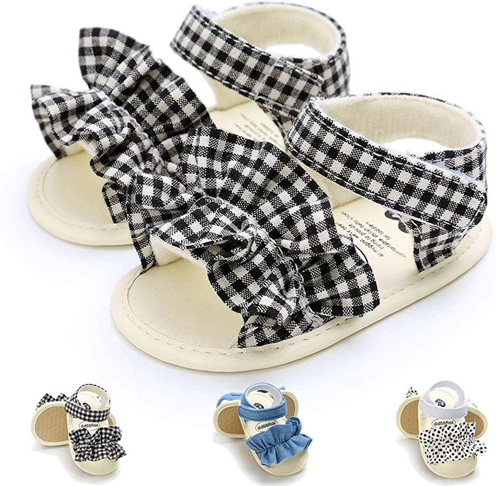 Newborn Baby Girls Sandals Anti-Slip soft Sole Toddler First Walker Infant Summer Shoes for Baby Girls(0-18 Months)