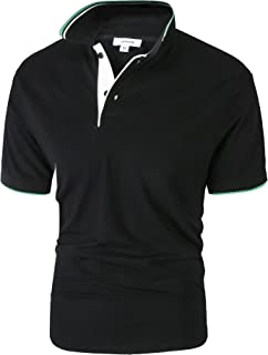APRAW Men's Polo Shirt Golf Big & Tall Short Sleeve Cotton Performance Solide