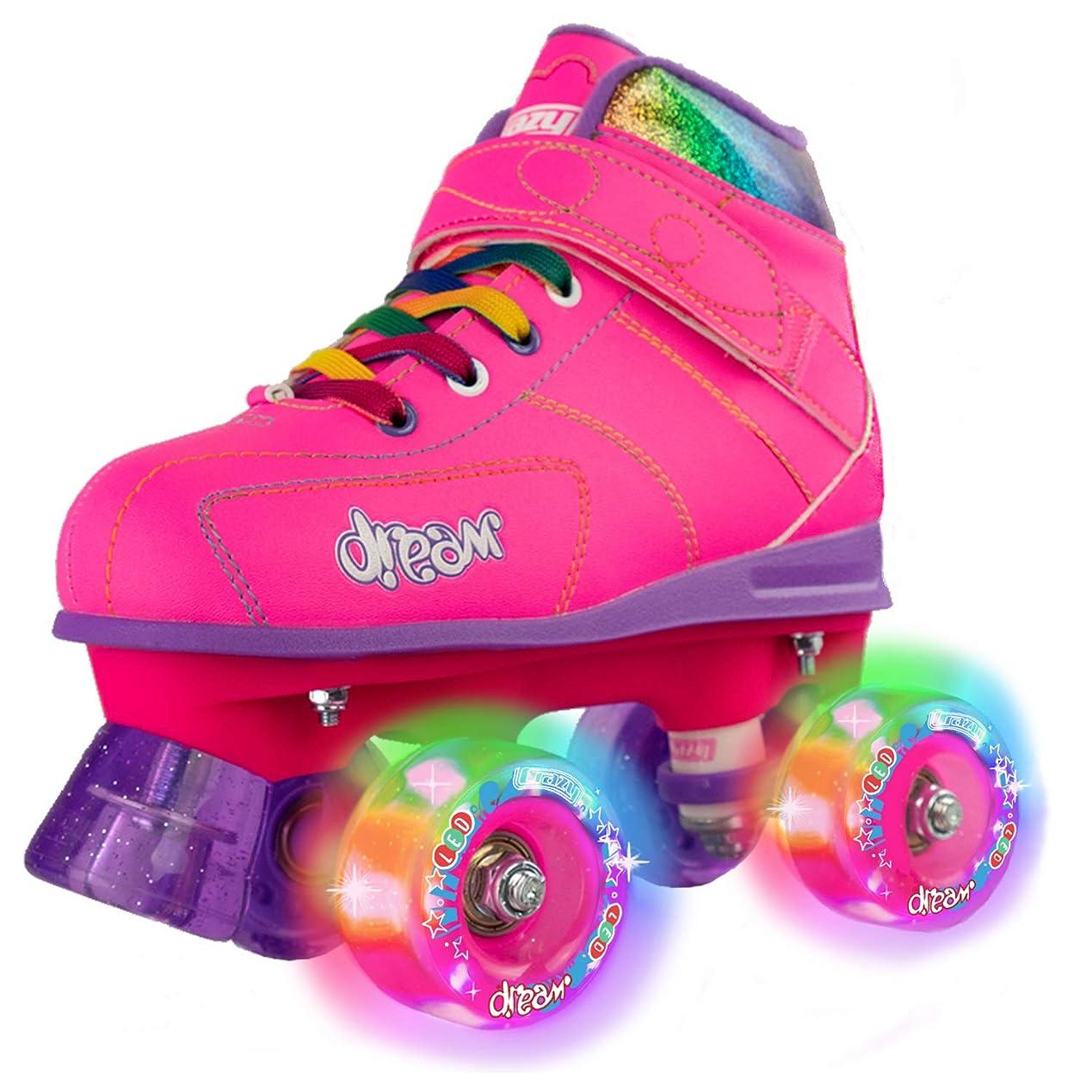 背が高い学校教育ずらすCrazy Skates ドリームローラースケート 女の子と男の子用 LEDライトアップホイール ピンクまたはブラック