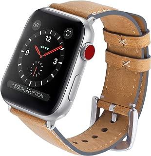 Fullmosa Yola アップルウォッチ バンド レザー 44mm 42mm 40mm 38mm コンパチ apple watch 交換用 本革 アップルウォッチ5 4 3 2 1 レディース 革ベルト メンズ (42mm, ライトブラウン+シルバー)