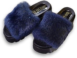 2618c6318 New Summer Plush Women Fluffy Slippers Flat Non-Slip Animal Fur Feather  Slides Home Flip