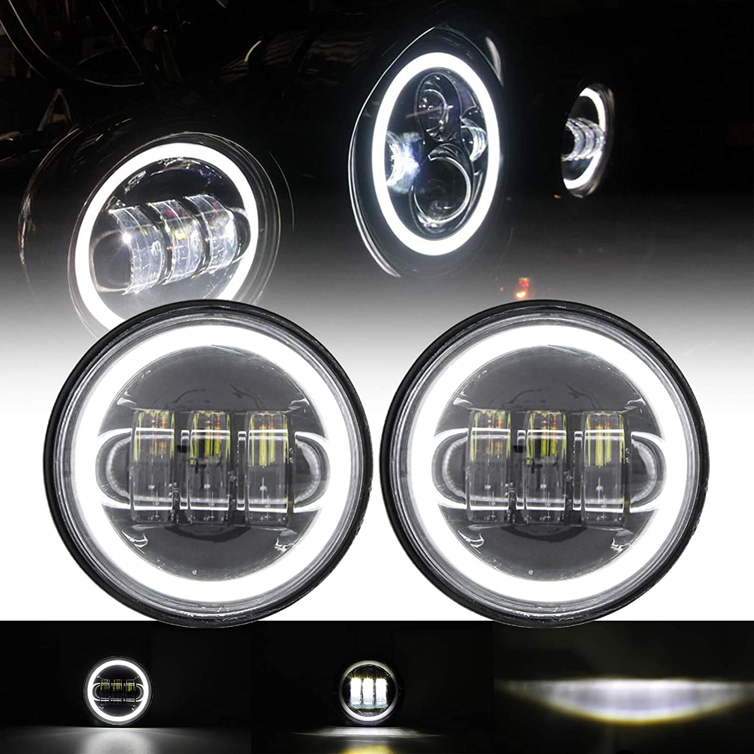 SKUNTUGUANG 1 信憑 Pair マーケット 4.5 Inch Led Light with Eyes Fog Angel Passin