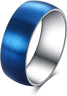 Ofeiyaa التيتانيوم الصلب خواتم للرجال النساء الخطوبة زفاف ماتي مصقول 8 مم الراحة صالح الحجم 6.5-13.5