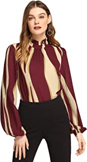 Women's Elegant Printed Stand Collar Workwear Blouse Top Shirts