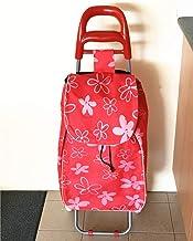DC 2163 Shopping Trolley Foldable Oxford Fabric Flower Bag Luggage Wheels Folding Basket (red)