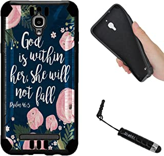 URAKKI Case, Black Hybrid 2-Layer Shock Proof Rugged Armor Hard Cover Case Compatible with Coolpad Canvas 4G LTE Splatter 3636A Case [God is Within Her Psalm] Case