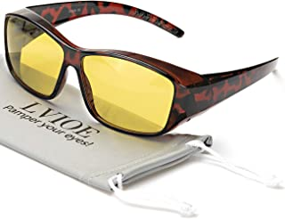 Wrap Around Night Driving Glasses with HD Polarized Yellow Lens Lightweight Frame for Night Vision Eyewear