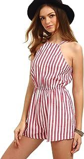 596196759c Romwe Women s Casual Striped Sleeveless Halter Sexy Short Romper Jumpsuit