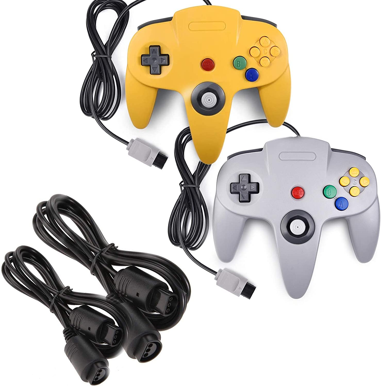 miadore 2 Pack Classic N64 Controllers (Yellow/Gray) Bundle with 2 Pack 6FT N64 Controller Extension Cable