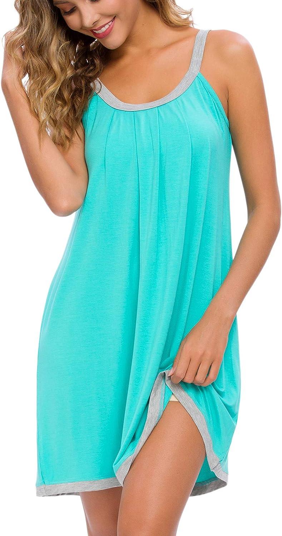 AVIIER Women Cotton Sleeveless Tank Nightgowns Wide Strap Chemise Full Slip Sleep dress
