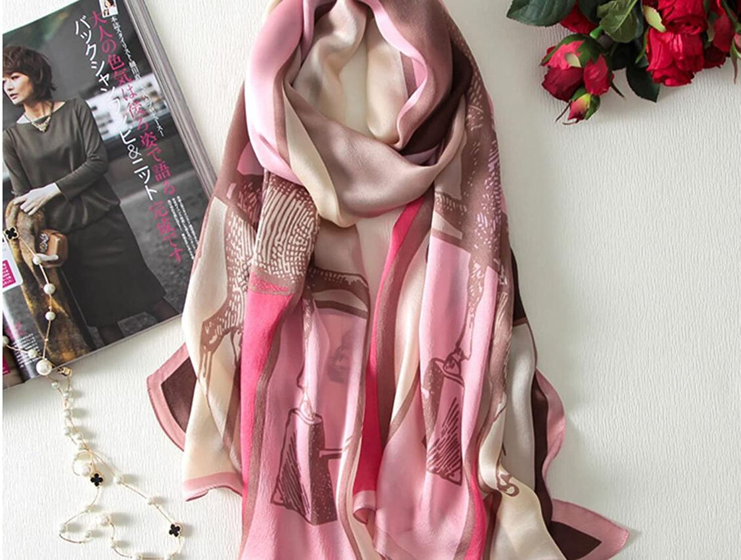 AchangScarf Silk Silk Scarves Print Embroidery Embroidery Shawls Dual use Summer Scarf Wild Long Beach Towel (Length  180  60cm, Packing of 1) (color   H)