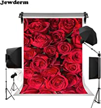 Jewderm 5x7ft Photo Background 3D Red Rose Photography Backdrop Floral Flower Romantic Valentine Love for Wedding Reception Wall Decoration Anniversary Birthday Party Decor Props