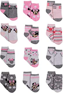 Disney Baby Girls Minnie Mouse Character Design Socks 12 Pack (Newborn and Infants)