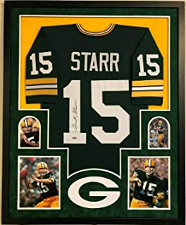 FRAMED GREEN BAY PACKERS BART STARR AUTOGRAPHED SIGNED JERSEY STEINER COA