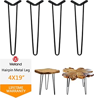"""Welland 19"""" Satin Black Hairpin Metal Legs 1/2"""" Diameter Set of 4 with Free Screws Use to Home DIY Projects for Furniture"""