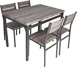 Zenvida 5 Piece Dining Set Rustic Grey Wooden Kitchen...