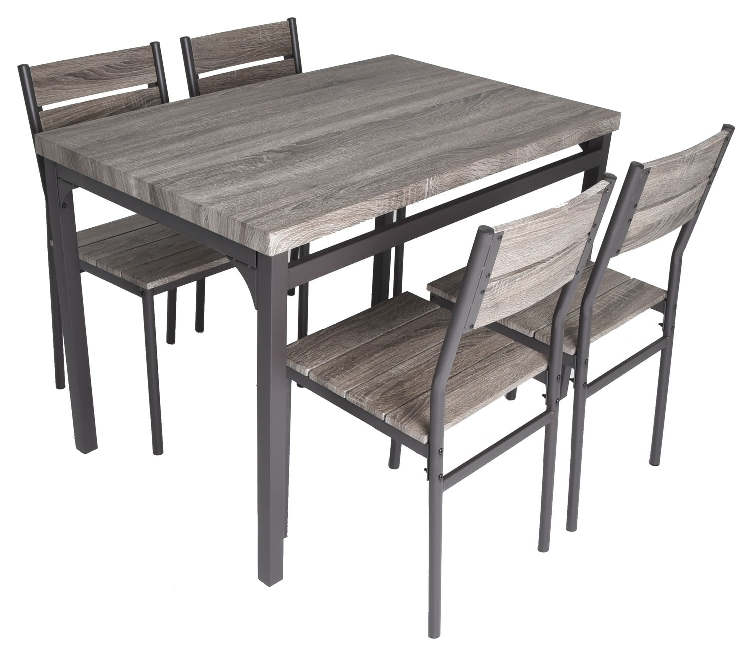 Zenvida 5 Piece Dining Set Rustic Grey Wooden Kitchen Table and 4 Chairs  sc 1 st  Amazon.com & 5 Piece Dining Room Sets: Amazon.com