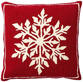 Plow & Hearth Indoor/Outdoor Snowflake Holiday Hooked Throw Pillow