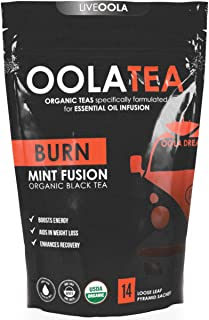 Oola Tea - BURN (Mint Fusion) 14 Count | Certified Organic Black Tea | Boosts Energy | Aids in Weight Loss