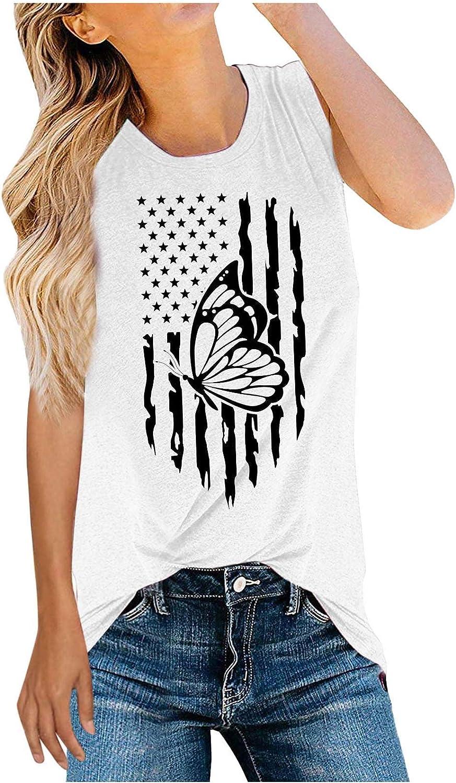 Aukbays 4th of July American Flag Shirt Patriotic Stars Stripes T Shirt Top Women Sleeveless Graphic Print Tee Shirt