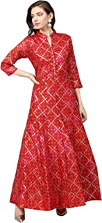 ishin Poly Silk Red & Pink Printed Anarkali Women's Kurta