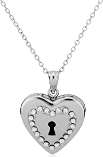 Kooljewelry Sterling Silver with Crystals Keyhole Heart Locket Pendant Necklace (18 inch)