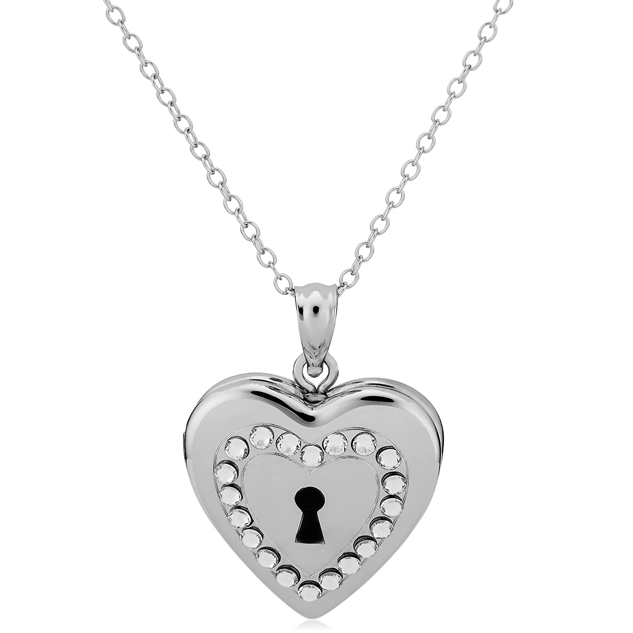 Sterling Silver With Crystals Keyhole Heart Locket Pendant Necklace (18 inch)