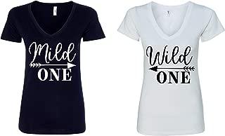 Mild One Wild One Bestie Shirts BFF Besties Friends Tees Set of 2 Matching Women V-Neck Shirts - BlackWhite New