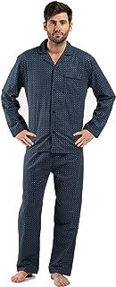 Harvey James Mens 100% Cotton Flannel Spot Pyjama Nightwear Lounge wear 9737 - Grey - Large 46-49 Chest