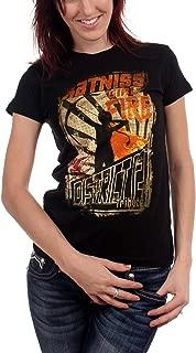 Girl On Fire Poster Juniors T-Shirt In Black,