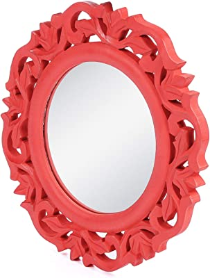 "The Urban Store Wood Hand Crafted Wall Mirror for Living Room, 14""X14"" (Red)"