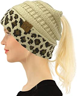 C.C CC Ponytail Messy Bun BeanieTail Soft Winter Knit Stretch Beanie Hat