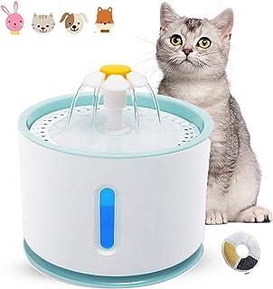 Kattvattenfontän, tyst kattfontän med vattennivåfönster och LED-ljus, automatisk dricksfontän för husdjur med 1 kolfilter...
