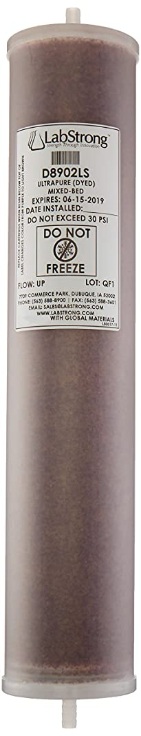 LabStrong D0809LS Water Purification Cartridge, Ultrapure, Mixed-Bed Ion Exchange Resin, 3.38