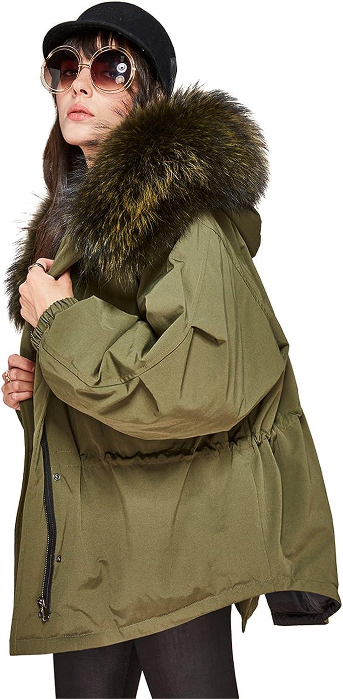Murfhee Women's Winter Jacksonville Mall Real Rare Raccoon Short Parka Fur Hooded Coat