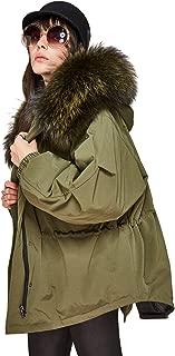 Women's Winter Real Raccoon Fur Hooded Parka Short Coat Oversize 90% White Duck Down Jacket