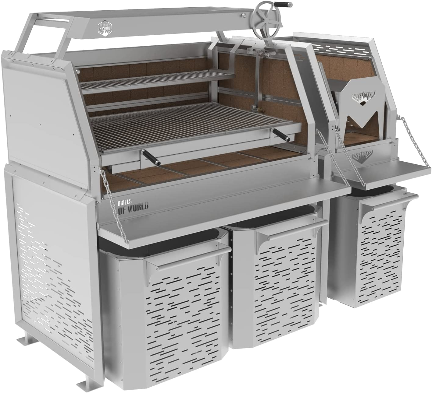 Professional Grill - 5 Self-Standing Stainless Sections Oakland Mall Steel Branded goods