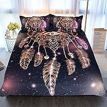 Sleepwish Dreamcatcher Duvet Cover 3 Pcs Quilt Cover Set Purple Black Bedding Doona Cover Set Glitter Bedding for Boho Boy...