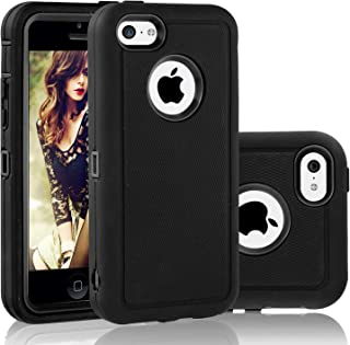 FOGEEK iPhone 5C Case, Dual Layer Anti Slip 360 Full Body Cover Case PC and TPU Shockproof Protective Compatible for Apple iPhone 5C ONLY (Black)