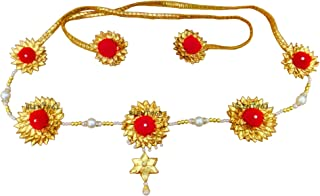Blent#63 Red Gota Patti Flower Jewellery Kamarband/Waistband/Belly Chain for Women/Kids/Girls/Bride/Bridal/Wedding/Haldi/M...