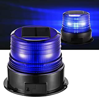 Steady Burning Four Different Modes for Truck Vehicle Blue Emergency Magnetic Flashing Warning Strobe Caution Lamp with Rotating Solar-Energy LED Beacon Light