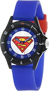 Superman Boys' SUP9044 Time Teacher Superman Watch with Blue Silicone Band