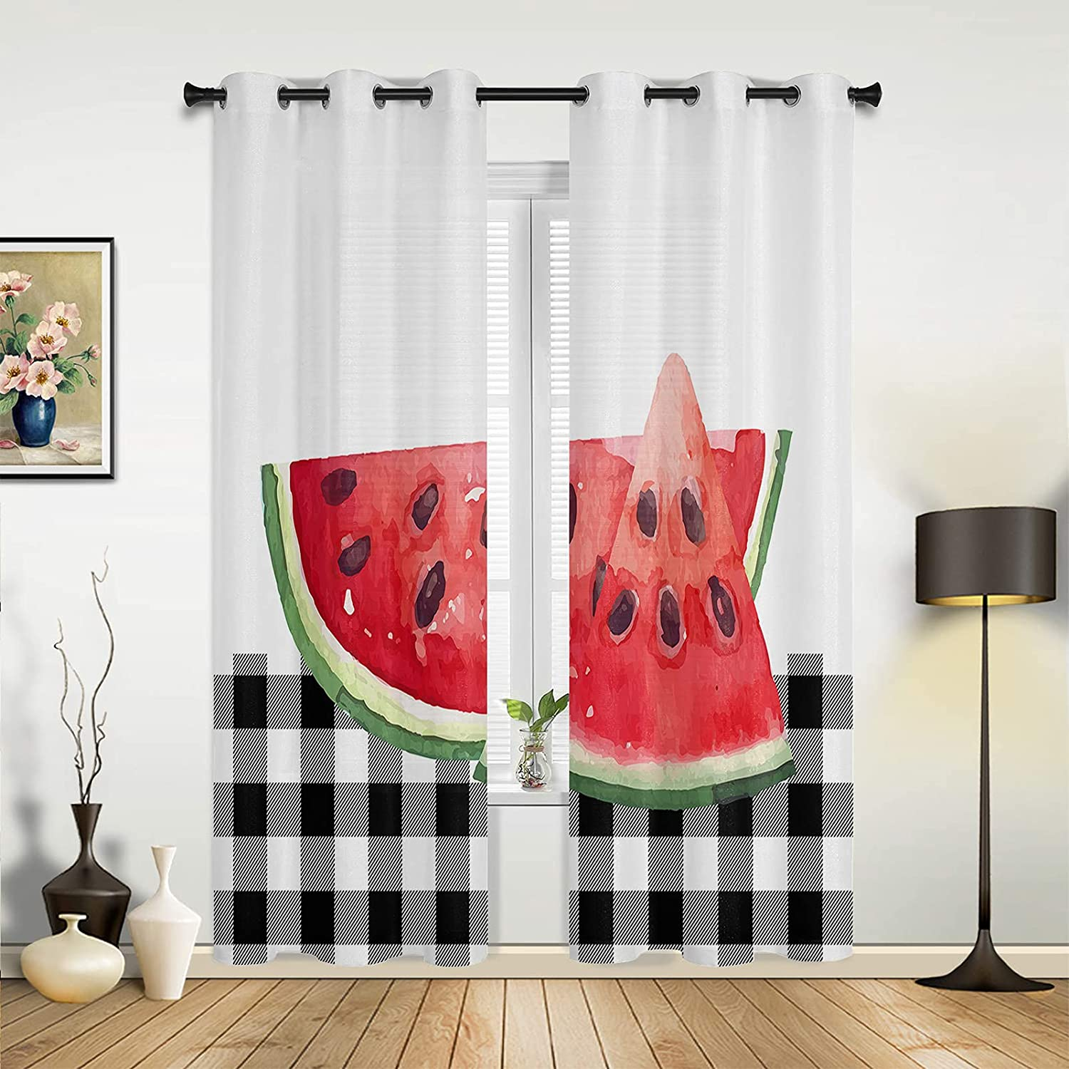 Outlet ☆ Free Shipping Window Sheer Curtains Max 81% OFF for Bedroom Summer Farm Waterm Living Room
