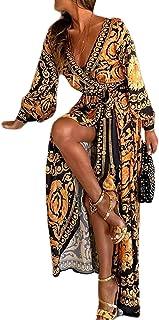 Sevozimda Damen Sommerkleid Boho Kleid Lange Ärmel Strandkleid Wickel Kimono V Ausschnitt Maxikleider Cocktailkleider