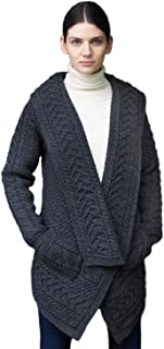 West End Knitwear Irish Cable Knit Merino Wool Waterfall Cardigan
